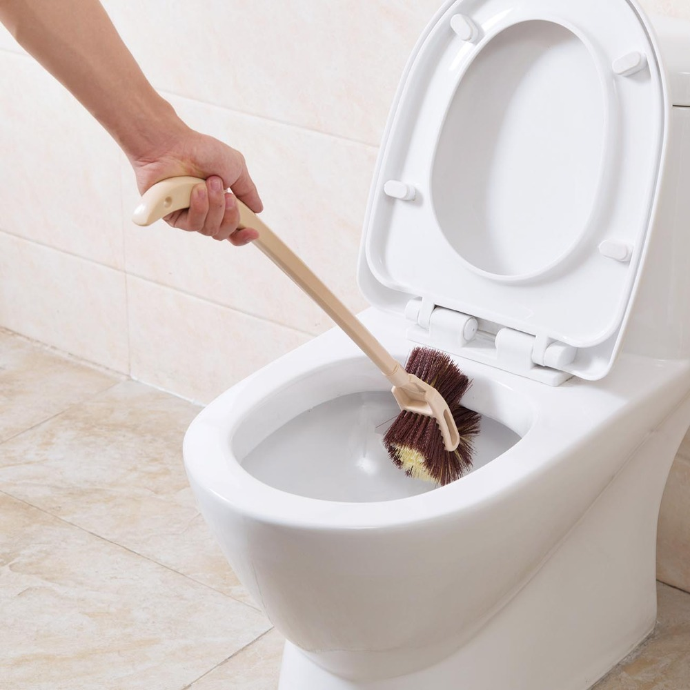 Imitation Wood Long Handle Toilet Brush Soft Double Side Brushes Bathroom Toilet Cleaning Brush WC Cleaning Tool