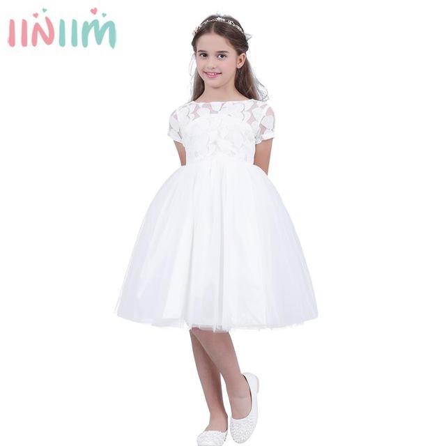Iiniim çocuklar kızlar için elbiseler beyaz Vestido de Dresses balo elbise yürümeye başlayan prenses çocuk içi boş kalp elbise akşam parti