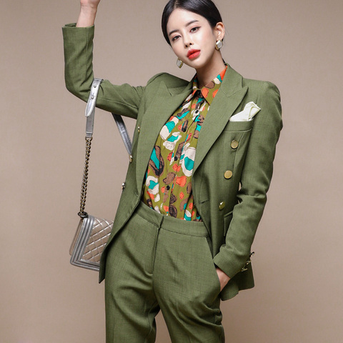 New Runway Fashion 2 Piece set women business work wearing pant suits Office Lady set suits Islamabad