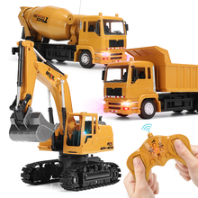 Remote Control Excavator Dump Truck Crane Blender With Light Vehicle Simulation Alloy Plastic RC Engineering Toys for Kids Boys