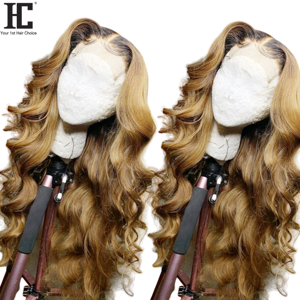 1B/27 Honey Blonde 13x4 Lace Front Wig Brazilian Body Wave Two Tone Remy Ombre Human Hair Wigs Pre Plucked Bleached Knots HC