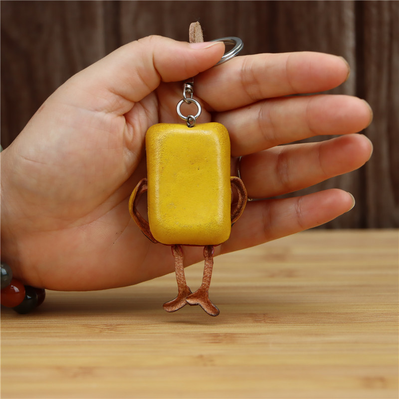 Leather handmade creative sponge baby keychain bag pendant mini cartoon cute cowhide bag accessories gift