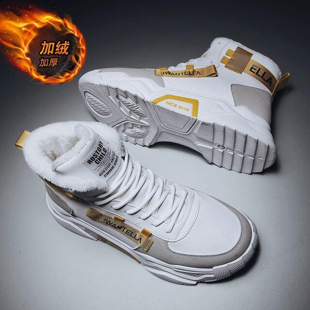 Özel tasarım kış ayakkabı erkekler ayakkabı üzerinde kayma erkekler için yüksek kaliteli erkek ayakkabı su geçirmez sıcak tutmak rahat ayakkabılar erkekler