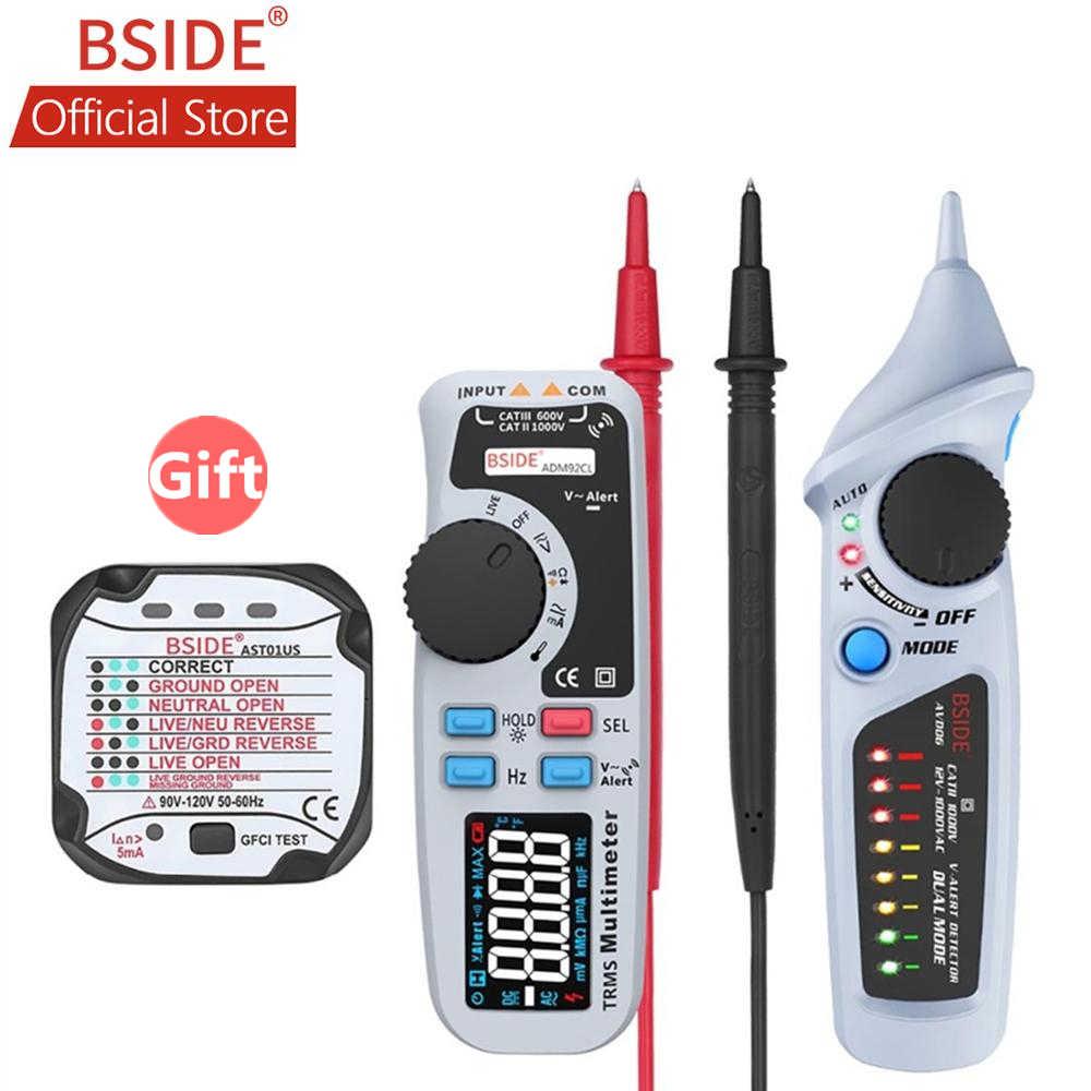 Bside adm92cl multímetro digital multímetro verdadeiro rms faixa automática 6000 trms tester com fio ao vivo verificar temp medidor de diodo kit