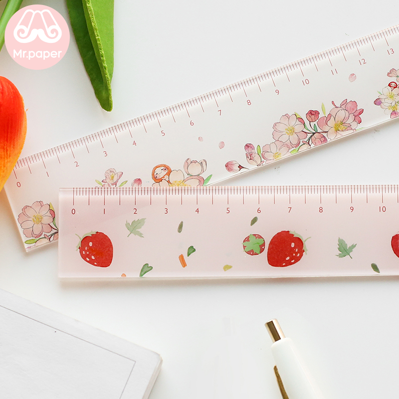 Mr paper 6 Designs 15cm Strawber Acrylic Color Ruler Multifunction DIY Drawing Rulers For Kids Students Office School Stationery 4