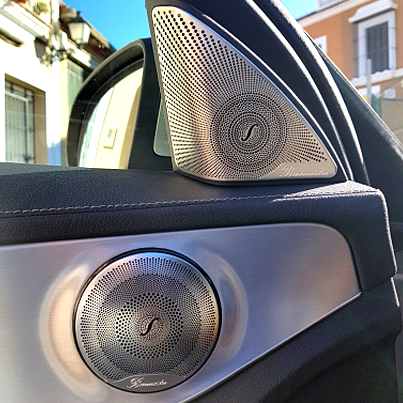 Audio Speaker Cover for Car 4Pcs Gloss Stainless Steel Door Loudspeaker Cover for Mercedes Benz E//C//GLC Class W213 W205