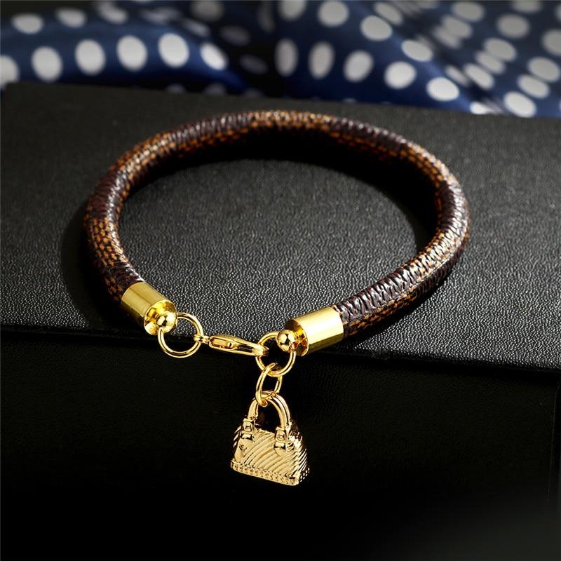 Modyle New Fashion Gold Color Genuine Leather Women Man Bracelets Bag Charms Pendant Bracelets Jewelry