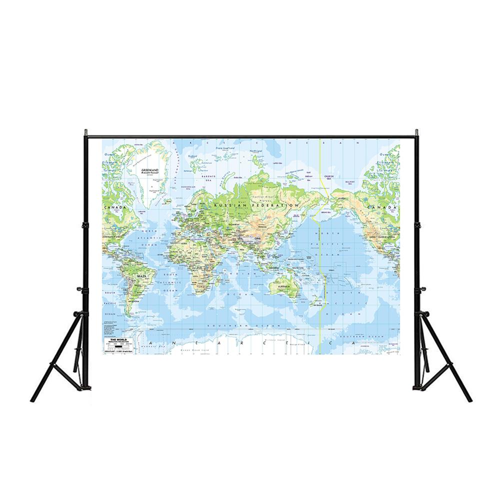 150x225cm The World Map Mercator Projection Vinyl Spray World Map Without National Flag