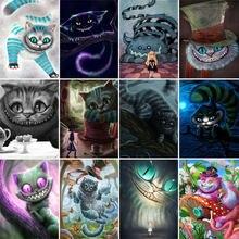 Алмазная живопись «Алиса в стране чудес» мультяшный Кот «сделай