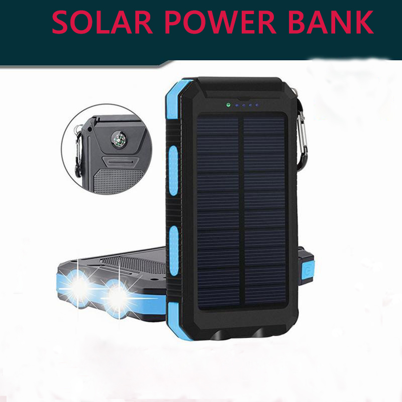 Vogek <font><b>Solar</b></font> <font><b>Power</b></font> <font><b>Bank</b></font> Waterproof <font><b>Solar</b></font> Phone <font><b>External</b></font> <font><b>Battery</b></font> <font><b>20000mah</b></font> LED Powerbank Portable Mobile Phone Charging Pool image