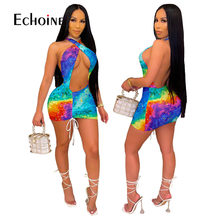 Echoine 2021 Women Tie Dye Print Summer Sexy Dress Elastic Sleeveless Halter Hollow Out Mini Dresses Party Night Club vestidos