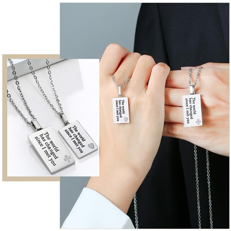Einfache Edelstahl Paar Halskette mit Worten