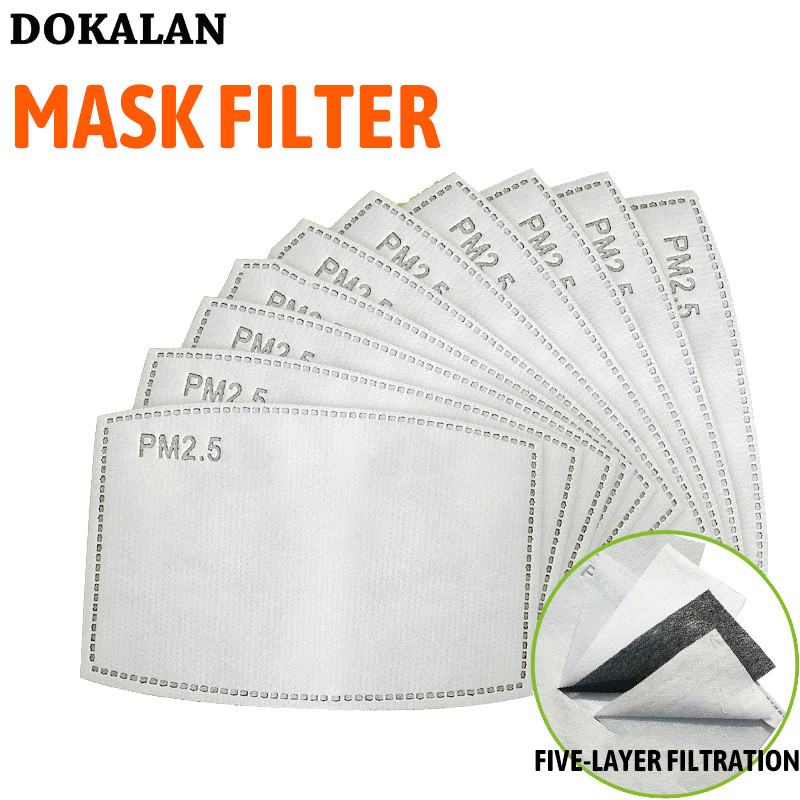 Face Mask Filter 100PCS 5 Layers PM2.5 Paper Activated Carbon Mаска Adult Child Haze Mouth Mask Dust Air Face Mask Filter Masks