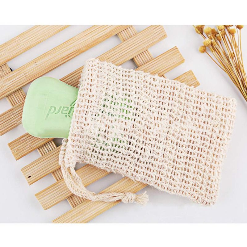 Exfoliating Cleansers Natural Portable Cotton Linen Drawstring Soap Saver Bag Net Pouch Exfoliating Soap Storage Bag: