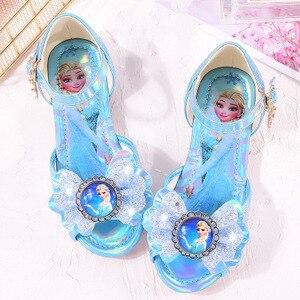 Детская кожаная обувь принцессы для девочек, повседневная блестящая детская обувь на низком каблуке для девочек, синяя, розовая Празднична...