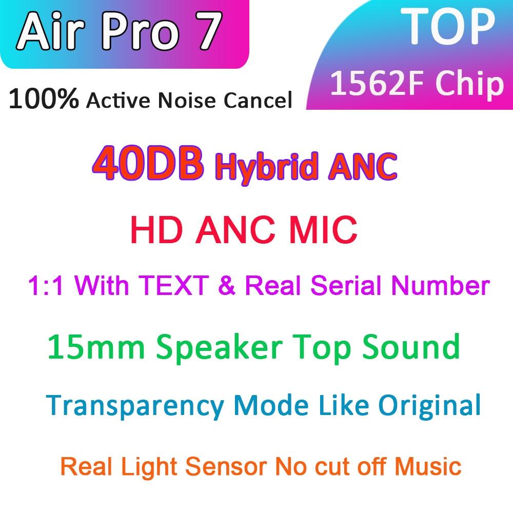 Hava Pro 7 TWS 1562F çip 40DB Hybriy ANC kablosuz Bluetooth kulaklık gerçek 100% ANC kulakiçi 12D süper bas HD mic ile 1:1 metin