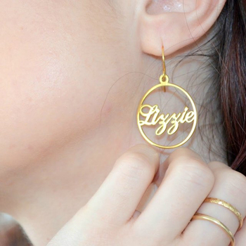 Fashion custom name pierced earrings personalized letter ladies stainless steel gold jewelry birthday gift
