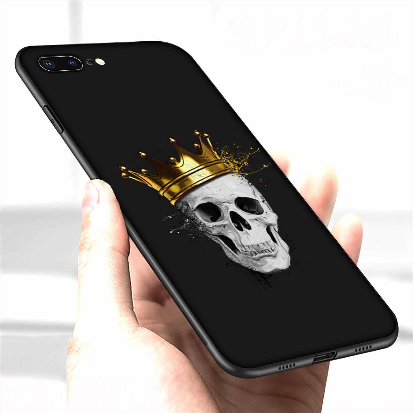 IYICAO kafatası çiçek karga yumuşak silikon kapaklı kılıf iPhone XR X XS 11 Pro Max 10 6 6S 7 8 artı 5 5S SE telefon kılıfı