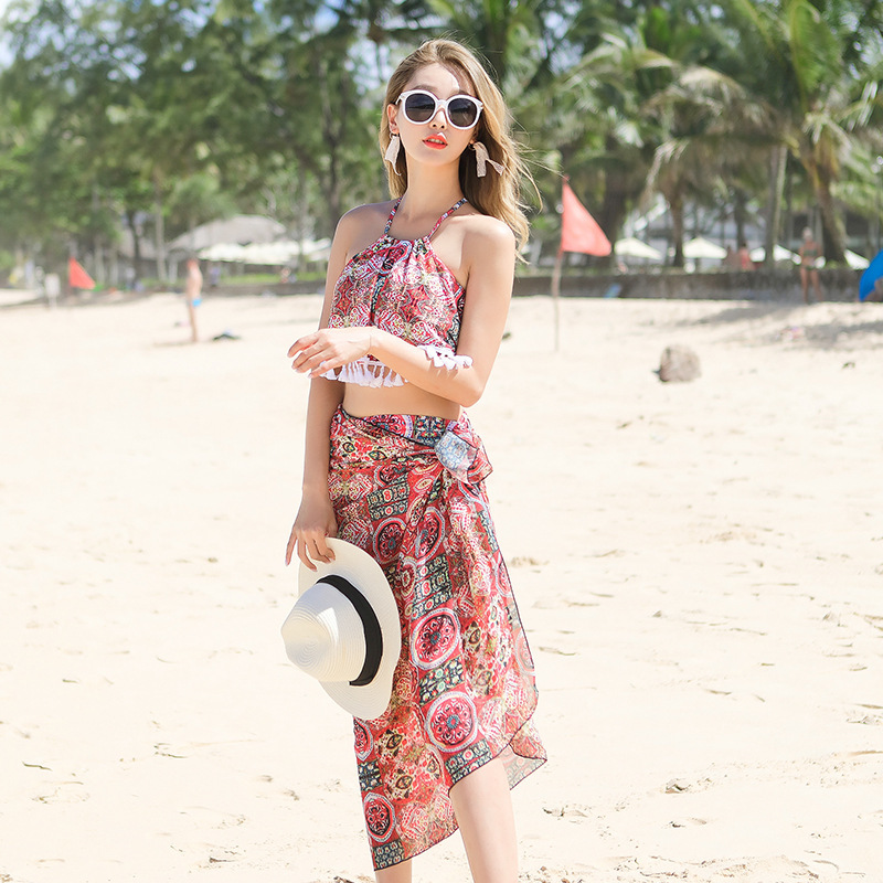 2018 New Style Hot Springs Swimwear Korean-style Fashion Small Fresh Two-piece Swimsuits Women's High-waisted Slimming Bikini Th