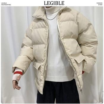 LEGIBLE 2019 Winter Men Short Thick Parkas Jacket Male Fashion Loose Warm Coat Male Streetwear Korean M-5XL Solid Clothing