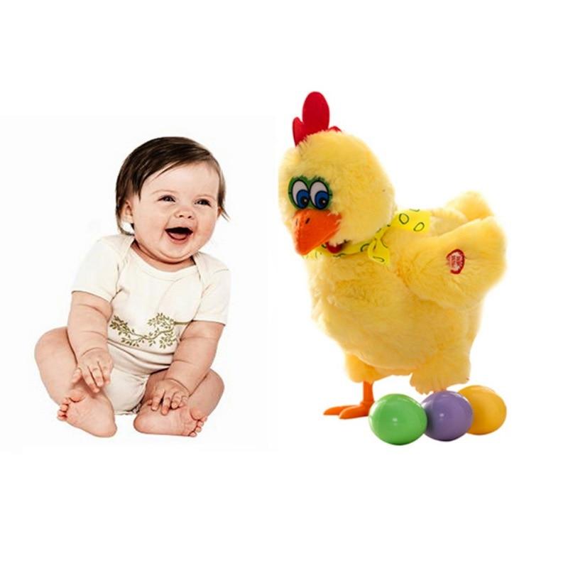 Dança musical elétrica frango colocando ovo boneca engraçado cru louco cantando dança brinquedo de pelúcia animal estimação elétrico