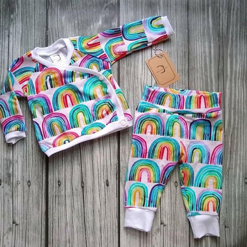 Newborn Baby Girl Autumn Outfit Rainbow Long Sleeve Tops T-shirt Pants Leggings Set Spring Autumn Clothing 0-24 Months