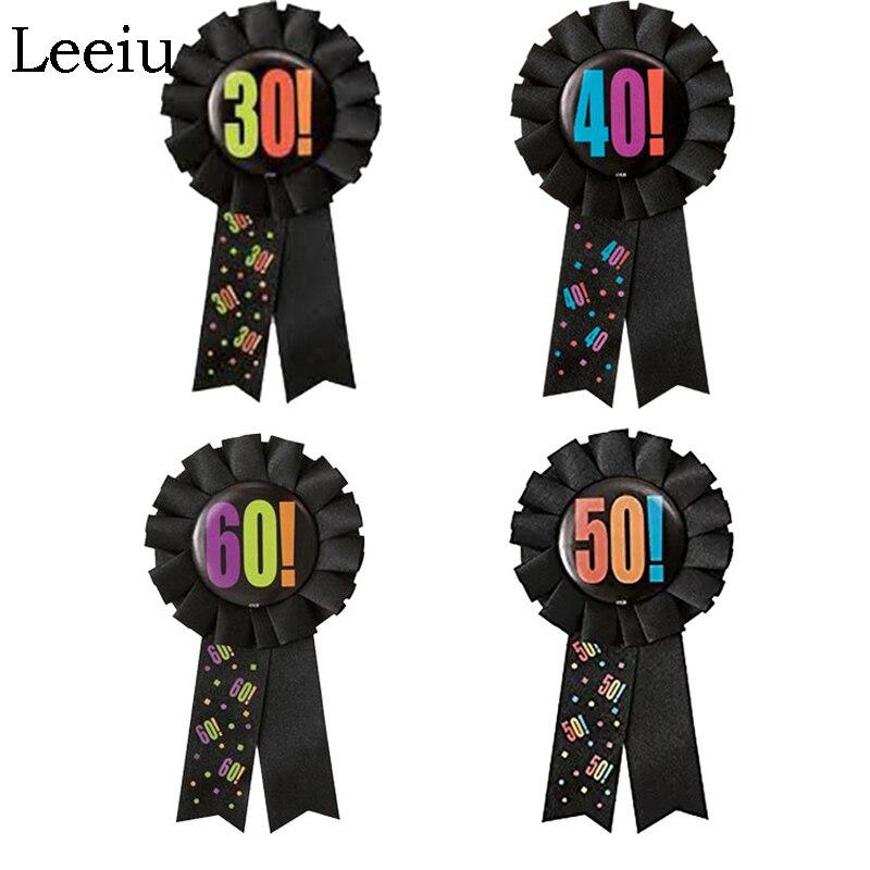 Leeiu Black Ribbon Rosette Badge Brooch Pin Happy 30 40 50 60th Birthday Favor Wedding Anniversary Decoration Adult Party Supply(China)