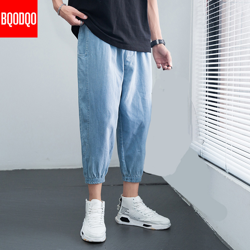 Blue Denim Jeans Trousers Men Japan Style Autumn Streetwear Casual Baggy Pant Male Hip Hop Harem Ankle-Length Pants Vintage 5XL