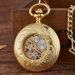 Image 5 - レトロ中空刻ま機械式懐中時計ヴィンテージポケットはブロンズゴールド Fob チェーンネックレスフリップ巻時計