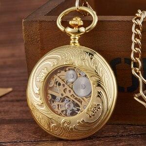 Image 5 - Retro Hohl Getriebe Gravierte Mechanische Taschenuhr Vintage Taschenuhren Bronze Gold Fob Kette Halskette Flip Handaufzug Uhr