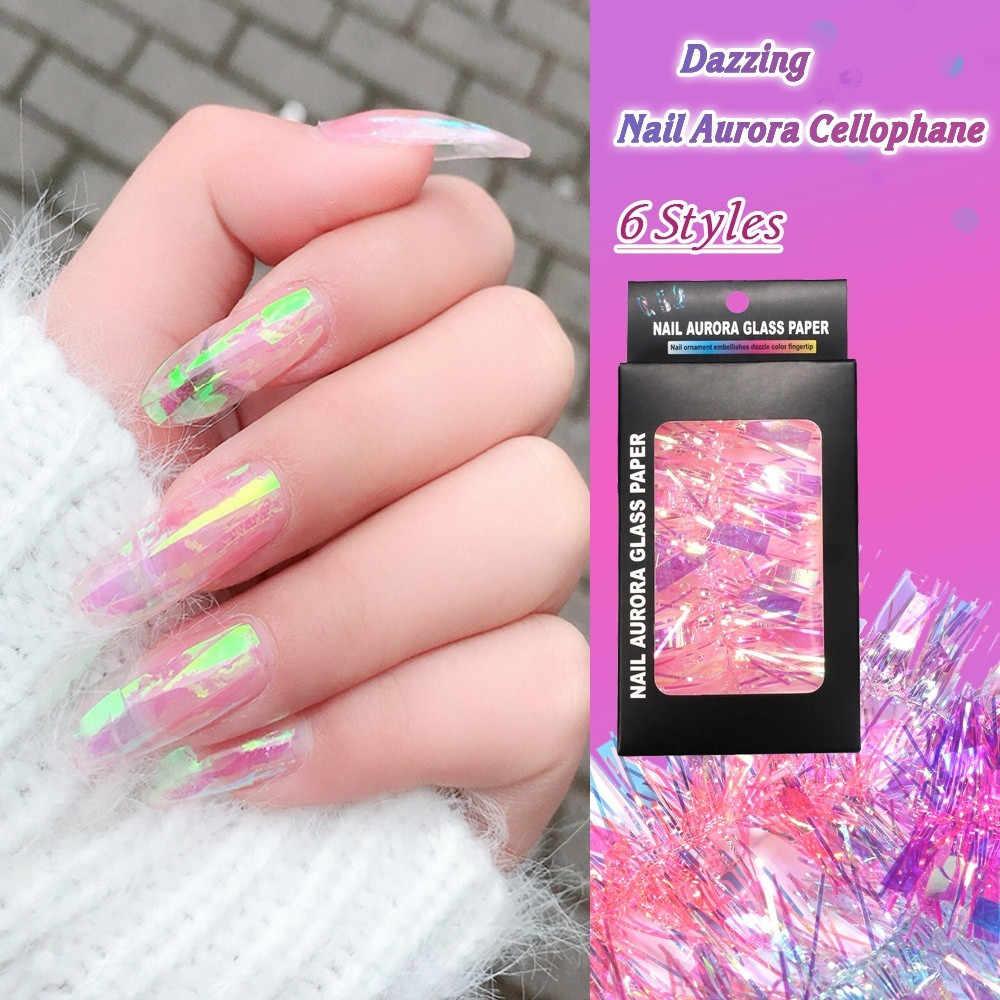 1pc Colorful Nail Aurora Glass Paper Sticker Beauty Design Nail Art Nails Accessories Fashion Diy Design Decoration 6 Color Aliexpress