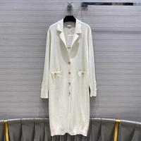 High end Design Long Cardigans Women Knitted Sweater Fashion Luxury Brand Solid Color Lapel Single Breasted Cashmere Blends Coat
