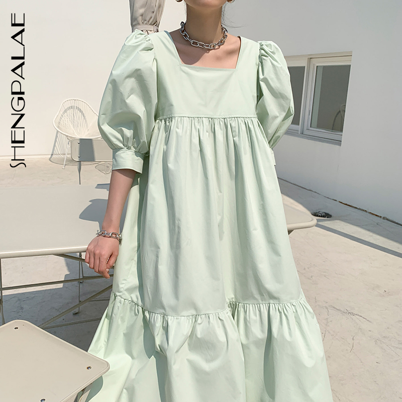 SHENGPALAE 2020 New Summer Women Vintage Loose High Waist Slim Was Thin Elegant Square Collar Puff Sleeve Maxi Dress ZA4360