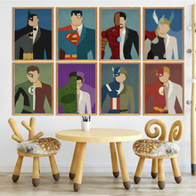Cartoon Comic Wall Art Canvas Painting Nordic Posters Superman Spiderman Batman Superhero Pictures For Kids Room Unframed