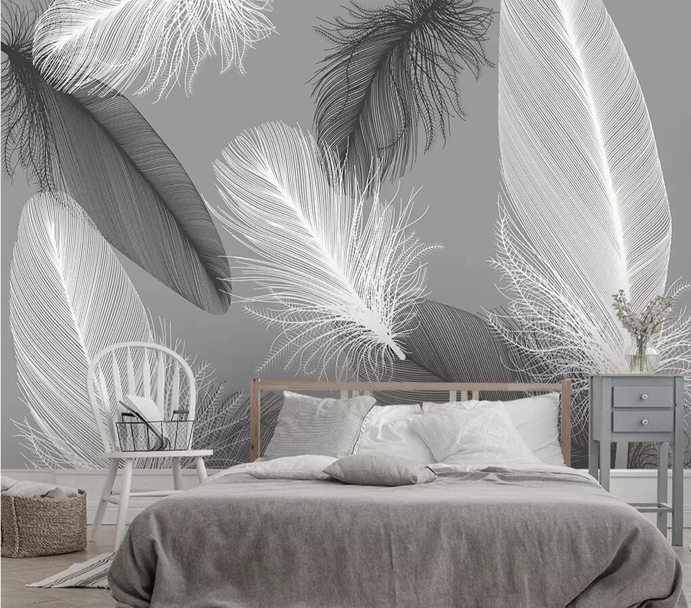 Milofi Custom Large 3D Wallpaper Mural Modern Nordic Feather Living Room Bedroom Background Wall Decoration Wallpaper Mural