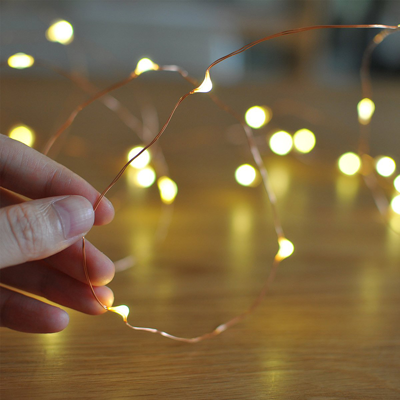 2M 5M 10M Led String Lights Battery Operated Sliver Wire Fairy Garland Light Christmas Outdoor Lights Chain Wedding Patry Decor