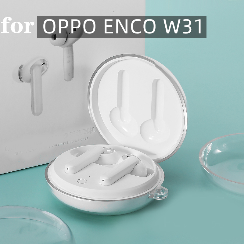 For OPPO ENCO  W31 Case Fashion Earphone Candy Headphone PC Hard  Protection 360 Full Case For Oppo Enco W31 With Hook  Funda