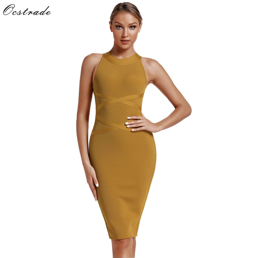 Ocstrade Women New Collection Vestido Bandagem Midi 2019 Summer Rayon Bodycon Bandage Dress Yellow Sexy Party Night Club Dress in Dresses from Women 39 s Clothing