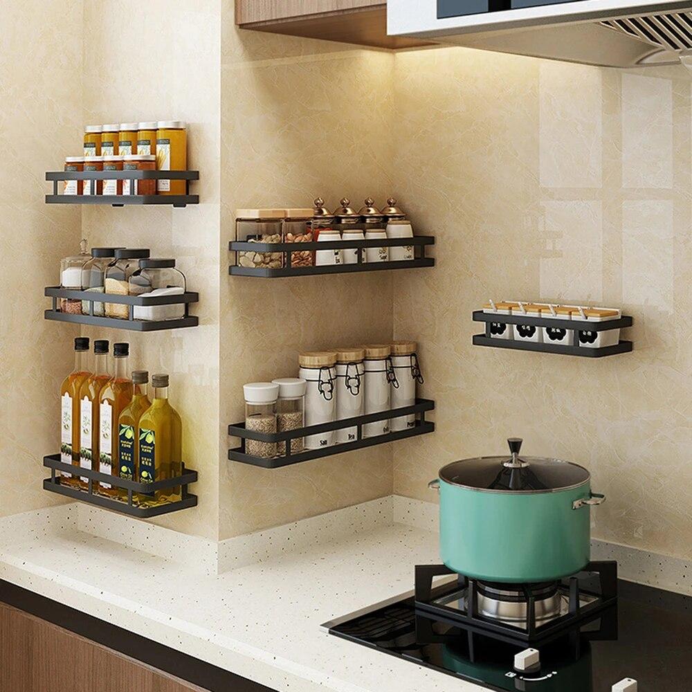 etagere de rangement murale sans clou panier de rangement d assaisonnement de cuisine etagere a epices murale organisateur de salle de bain