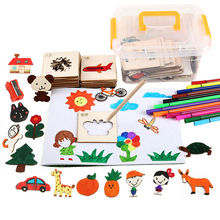 24/36/60Pcs Children Drawing Aid Set Toys Kids Wooden Painting Template Educational Creative Graffiti Stencils
