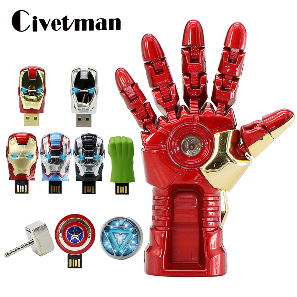Super Hero USB Flash Drive Avengers Iron Man Captain America Thor Hammer Hulk Metal Pen Drive 16GB 32GB 64GB 128GB Memory Stick