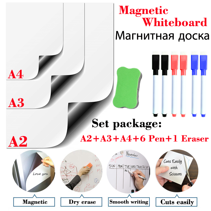 A2+A3+A4 Set Package Magnetic Whiteboard Dry Erase White Board Soft Home Office Kitchen Magnet Pad Fridge Kids Drawing Board