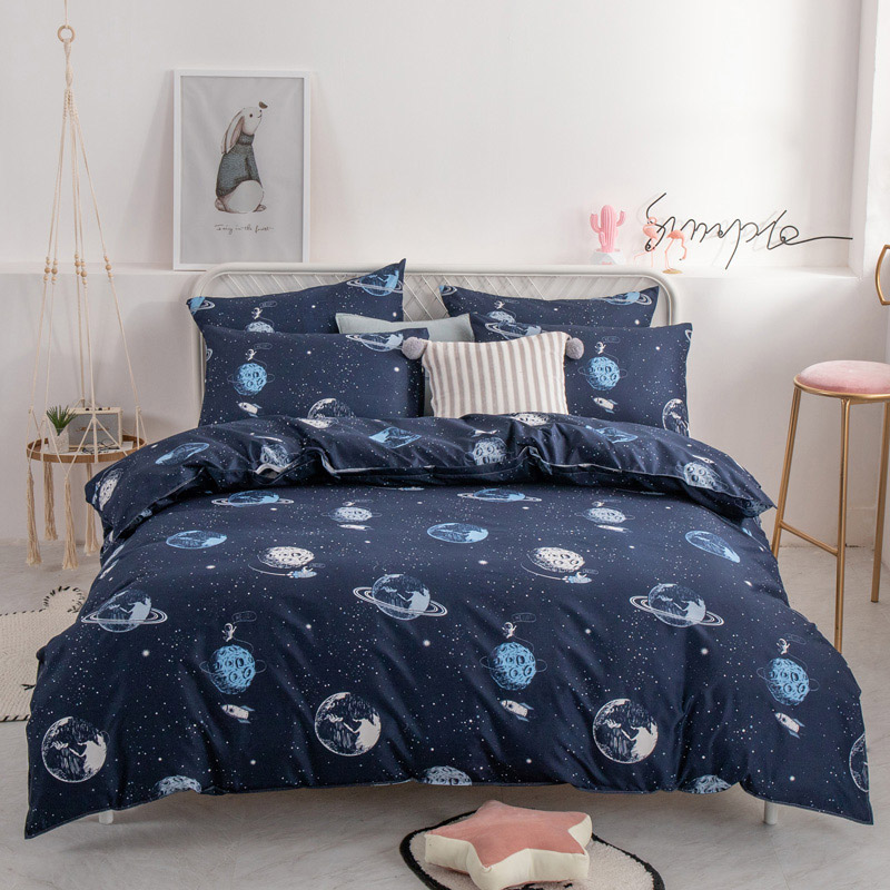 Alanna HD-ALL fashion bedding set Pure cotton A/B double-sided pattern Simplicity Bed sheet, quilt cover pillowcase 4-7pcs 2