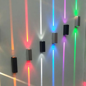 Decorate Line beam Brushed Metal Up Down Wall light Aluminum Indoor Outdoor IP65 lighting Red Blue Green Wall lamp
