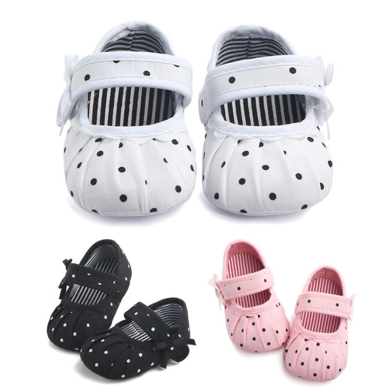 Baby Shoes Toddler Newborn Infant Cotton Print Prewalker Dot Soft-Sole Anti-Slip 0-18M