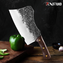 XITUO Butcher Knife Handmade Forged High Carbon Steel Chinese Kitchen Chef Knife Beef Cleaver Sharp Meat Chopping Heavy Knife