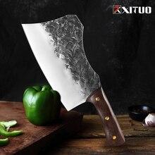 XITUO nóż rzeźnicki ręcznie kute stal wysokowęglowa chiński nóż szefa kuchni wołowina tasak ostre mięso siekanie ciężki nóż