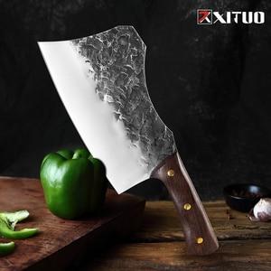 Image 1 - XITUO nóż rzeźnicki ręcznie kute stal wysokowęglowa chiński nóż szefa kuchni wołowina tasak ostre mięso siekanie ciężki nóż