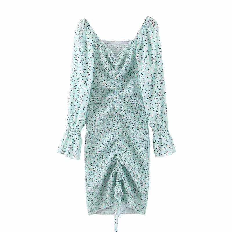 Za 2020 çiçek baskı İpli Bodycon elbise kadınlar uzun kollu elastik şifon elbise zarif bayan seksi V boyun yaz elbisesi