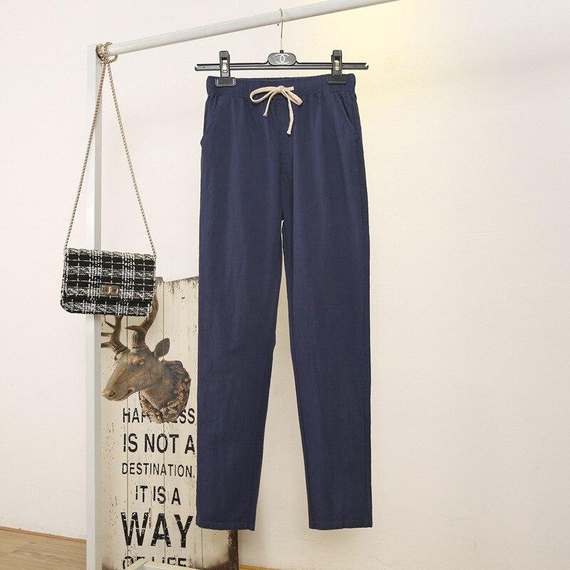 Women's Spring Summer Harem Pants Cotton Linen Solid Pants Soft